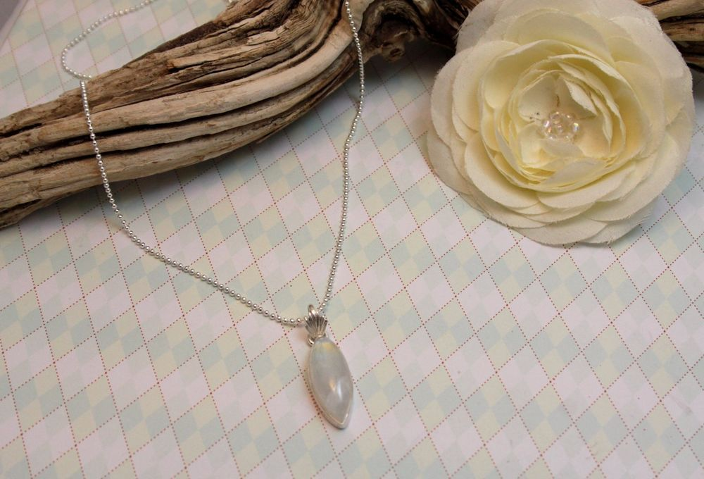 """19""""  Moonstone Pendant, Sterling Silver Mystical Small Beaded Chain Necklace  #Unbranded #Chain"""