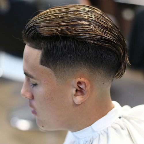 Long Slicked Back Undercut Fade + Edge Up
