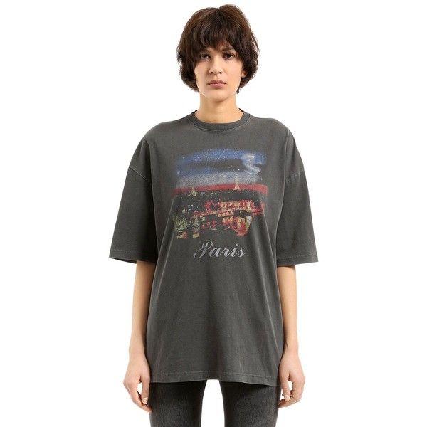 Balenciaga Women Oversized Paris Vintage Jersey T-shirt ($385) ❤ liked on  Polyvore