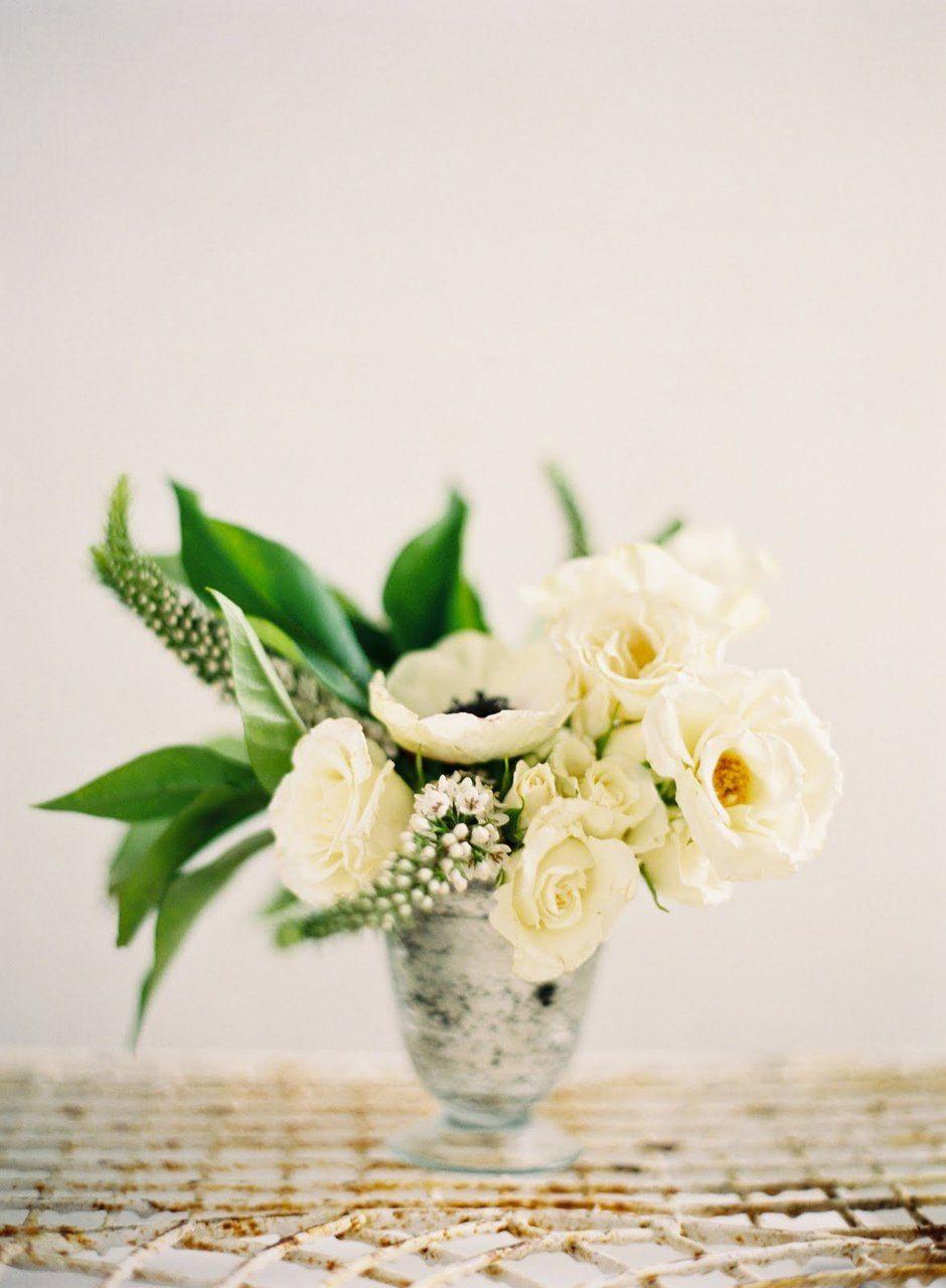 Metal Vase White Flower Arrangements Wedding Floral