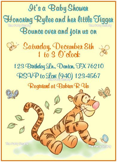 winnie the pooh tigger baby shower invitation by thepartysmarty, Baby shower invitations