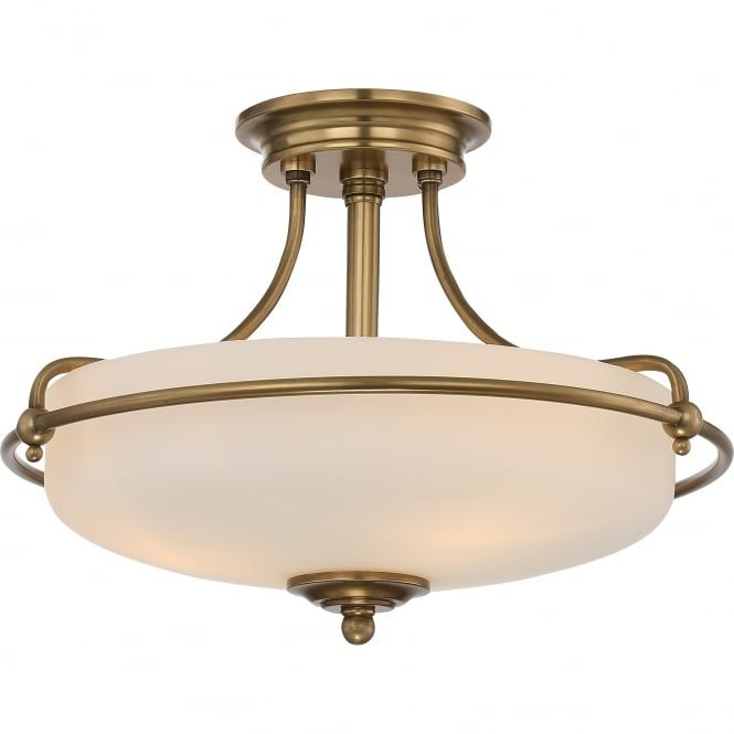 Period Style Semi Flush Ceiling Light In Weathered Brass With Opal Diffuser Great For Classic Rooms Low Ceilings