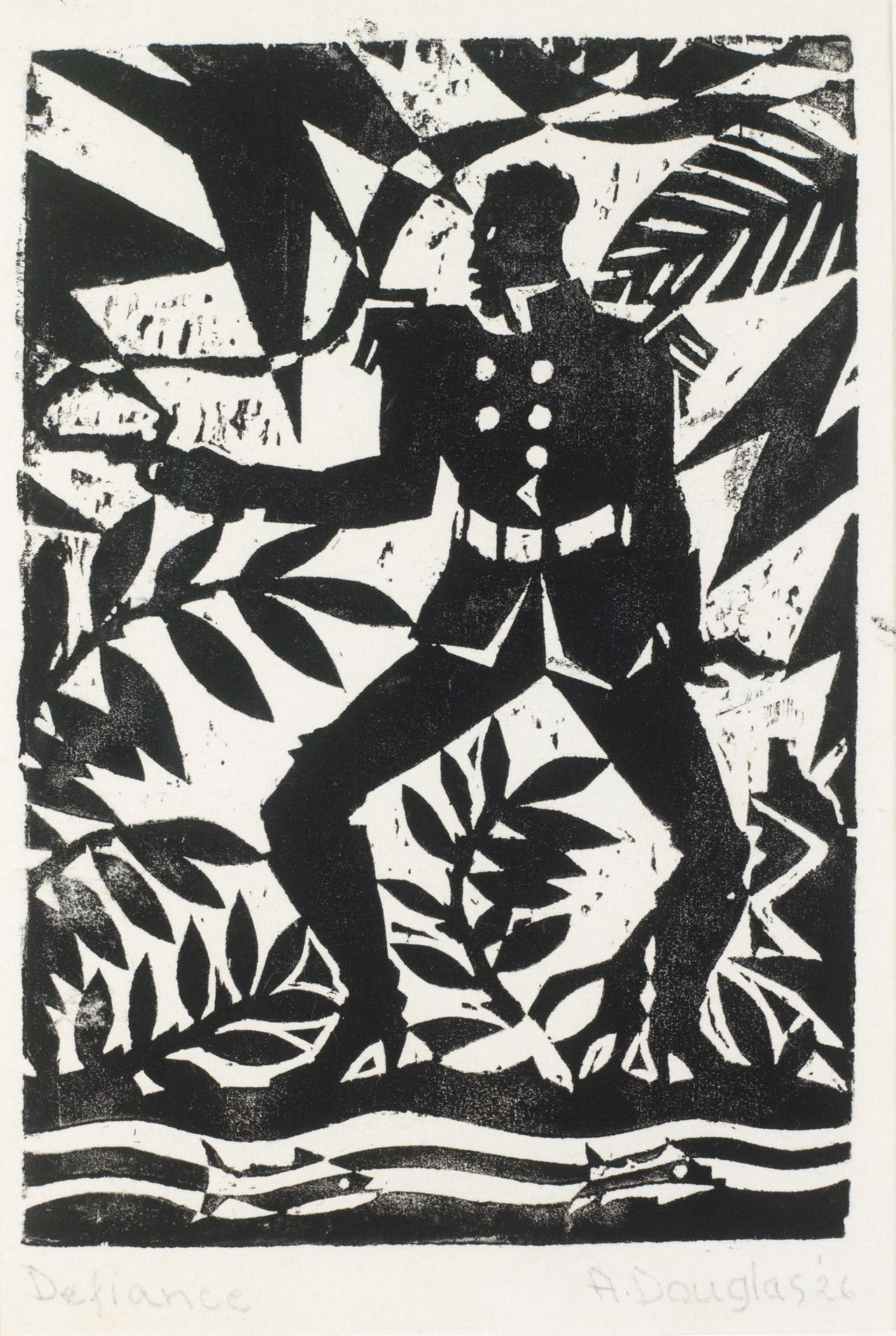 Aaron Douglas Defiance From The Emperor Jones Series 1926 Wood Block Print Printmakin Harlem Renaissance Artists Harlem Renaissance African American Art