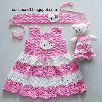Hello Kitty Dress Matching Amigurumi PATTERN | Babykläder