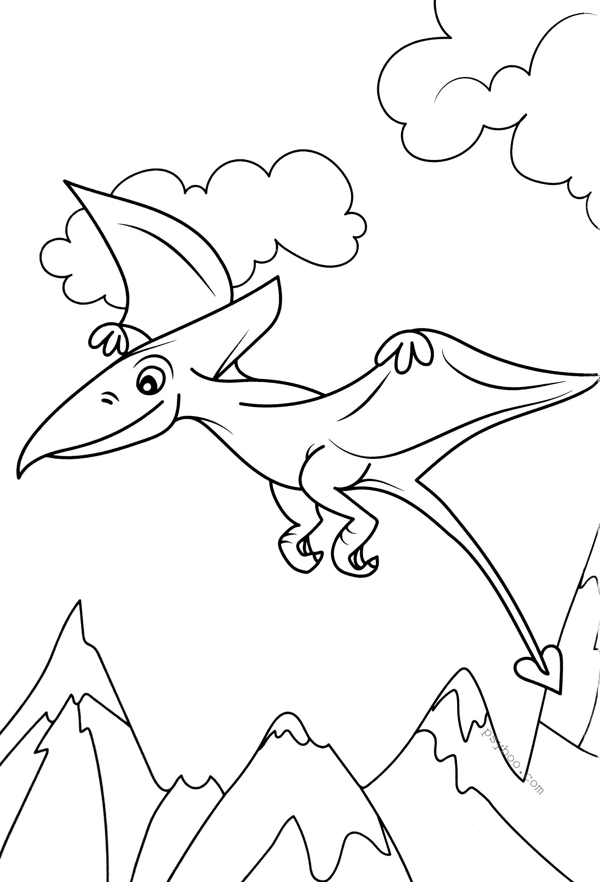 Little Dinosaur Pterodactyl Coloring Page for Free in 2020