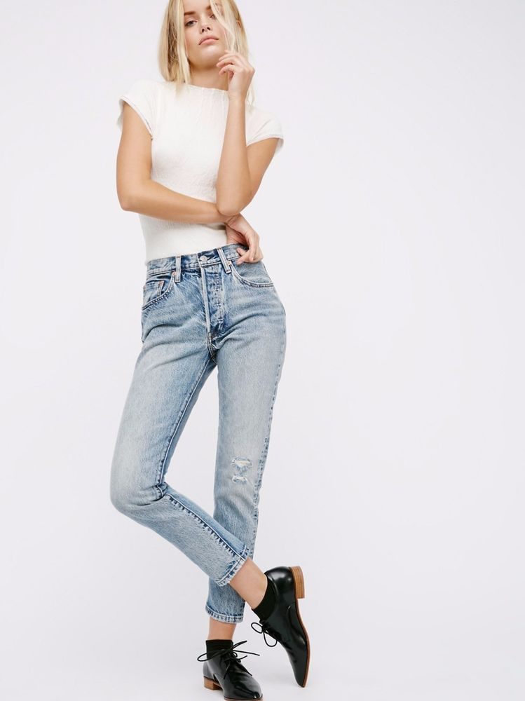 Free People LEVI S 501 SELVEDGE SKINNY JEANS Summer Dune Distressed High  Waist  Levis  SlimSkinny a7753fac15d