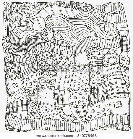Pattern for coloring book. Sleeping baby. Artistically ethnic ...