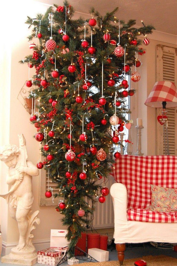 AuBergewohnlich Weihnachtsbaum Kopfüber Wohnzimmer Deko Weihnachten Rot Weiß  #weihnachtsdeko #ideen #christmastree