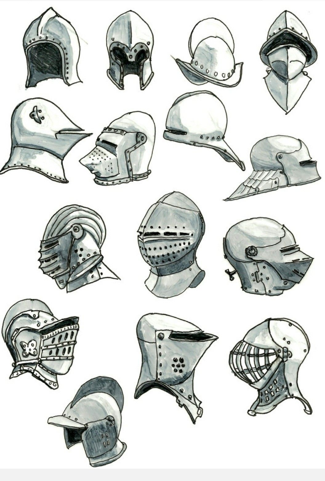 Medieval Helmet Drawing : medieval, helmet, drawing, Various, Helmets,, Century, Armor, Drawing,, Medieval, Concept, Characters