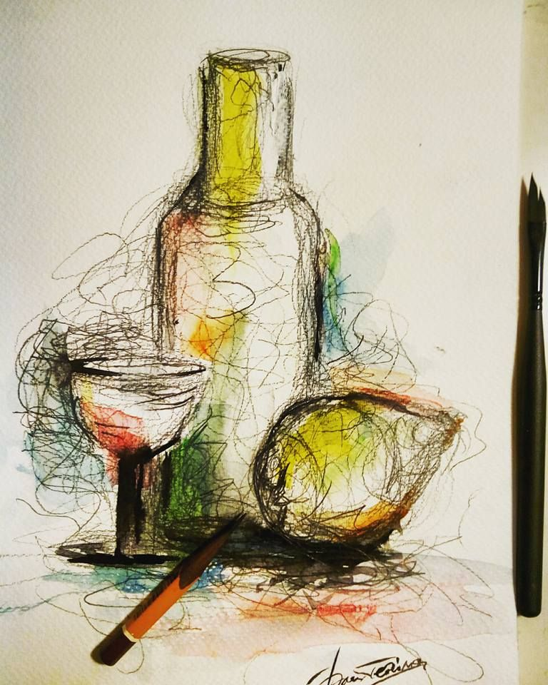 Still life scetch. Ink and watercolor.
