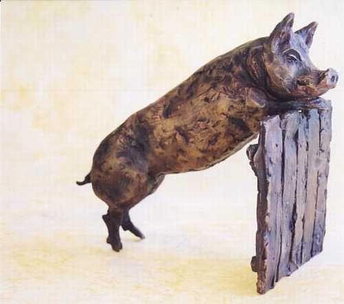Bronze Pigs, Sows, Boars, Hogs, Piglets Sculptures #sculpture by #sculptor Rosie Sturgis titled: 'Pig on Gate' £1075 #art