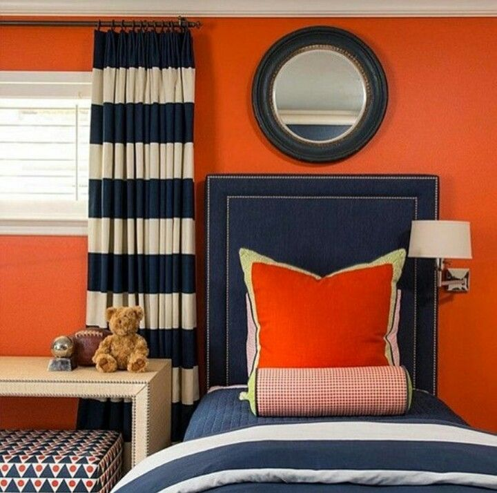 Behr Orange Rooms With Navy Accent Wall: Pin By Lelia Walker On My Finds