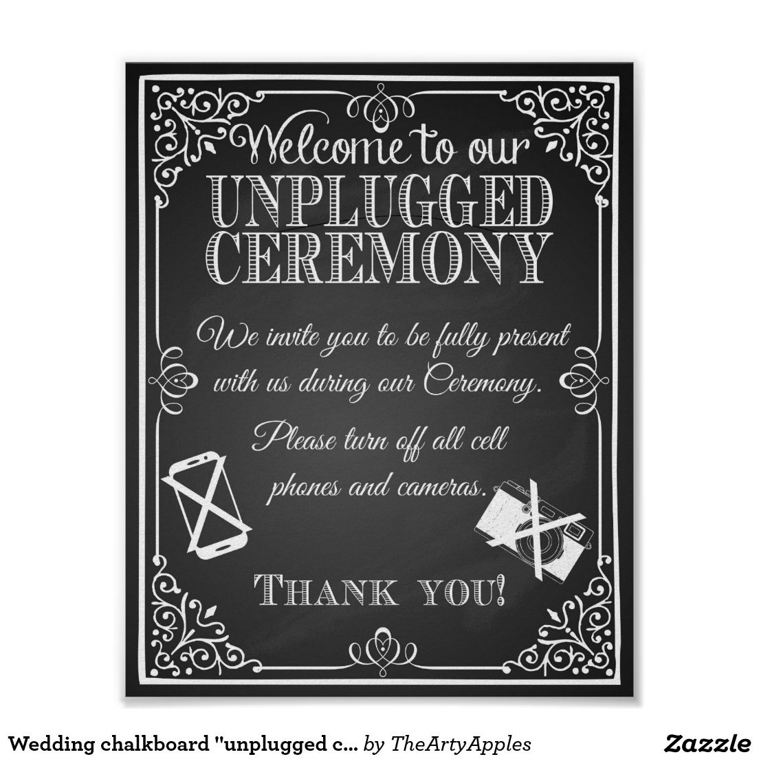 "Wedding chalkboard ""unplugged ceremony"" Print"