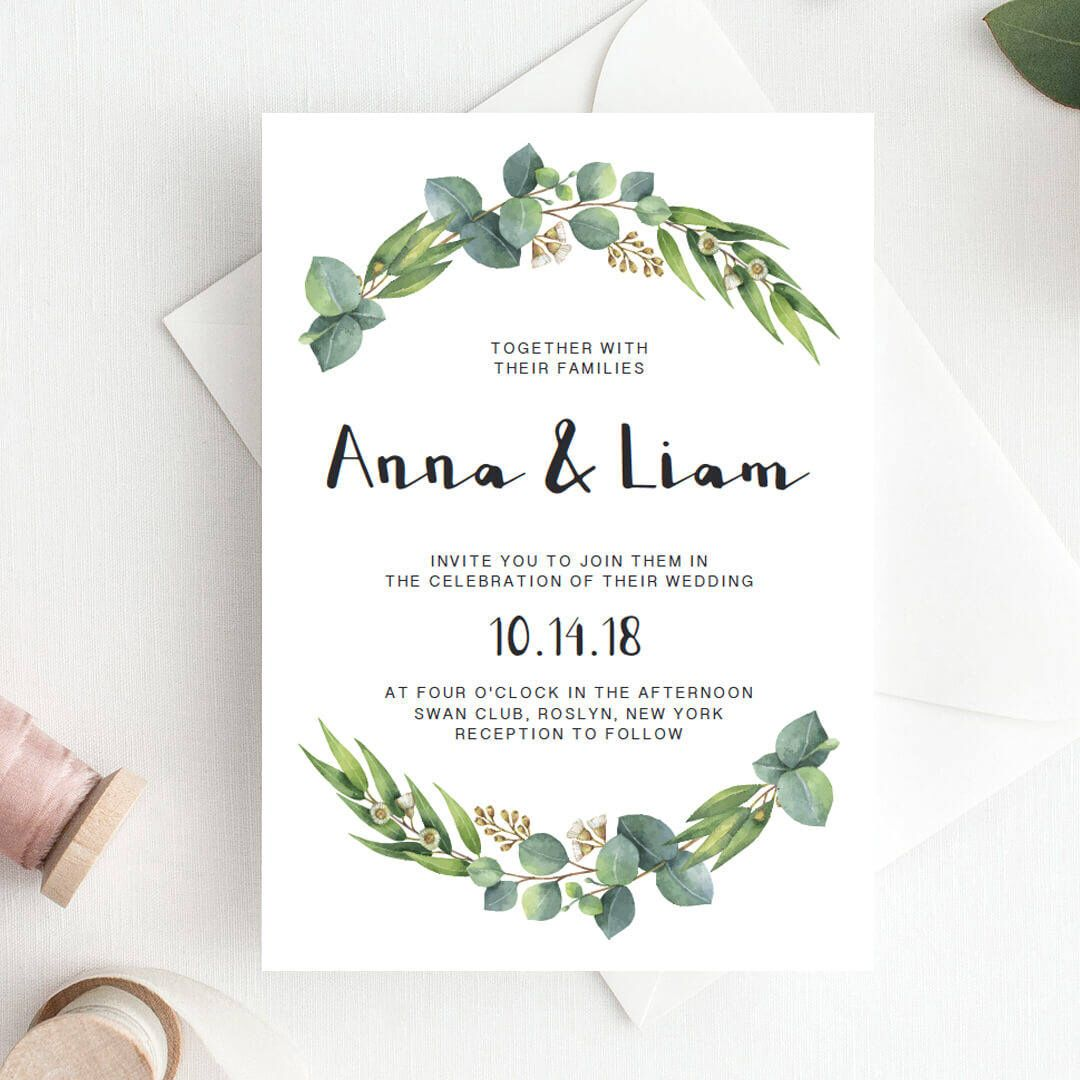 Green Wedding Invitation Template Download Green Leaf Wedding