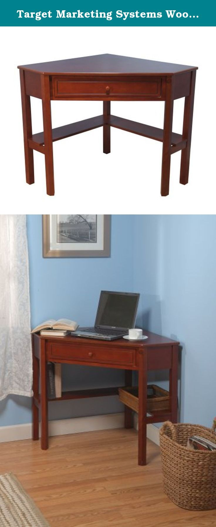 Target Marketing Systems Wood Corner Desk with One Drawer and One ...