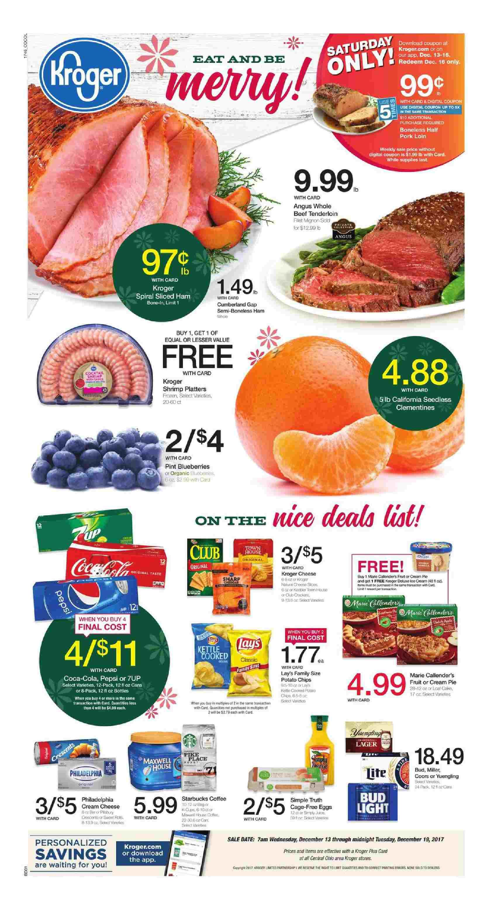 Kroger Weekly Ad December 13 – 19, 2017 – Grocery, Kroger