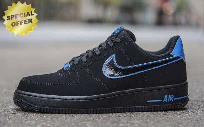 best sneakers 1d587 4f43e Fast Shipping To Buy Nike Air Force 1 Low Black   Black-Photo Blue  488298-057