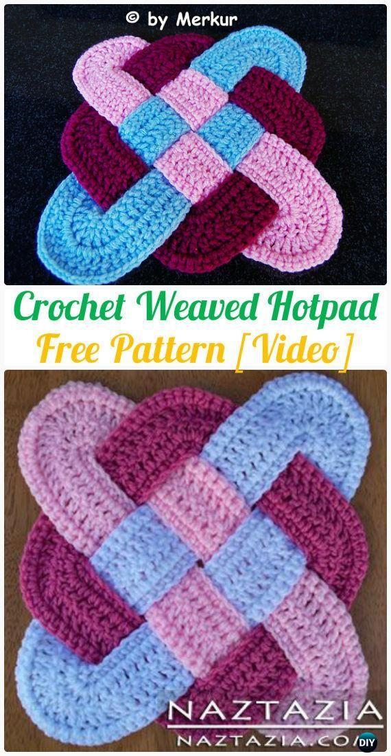 Crochet Weaved Hotpad Free Patterns - Crochet Pot Holder Hotpad Free Patterns