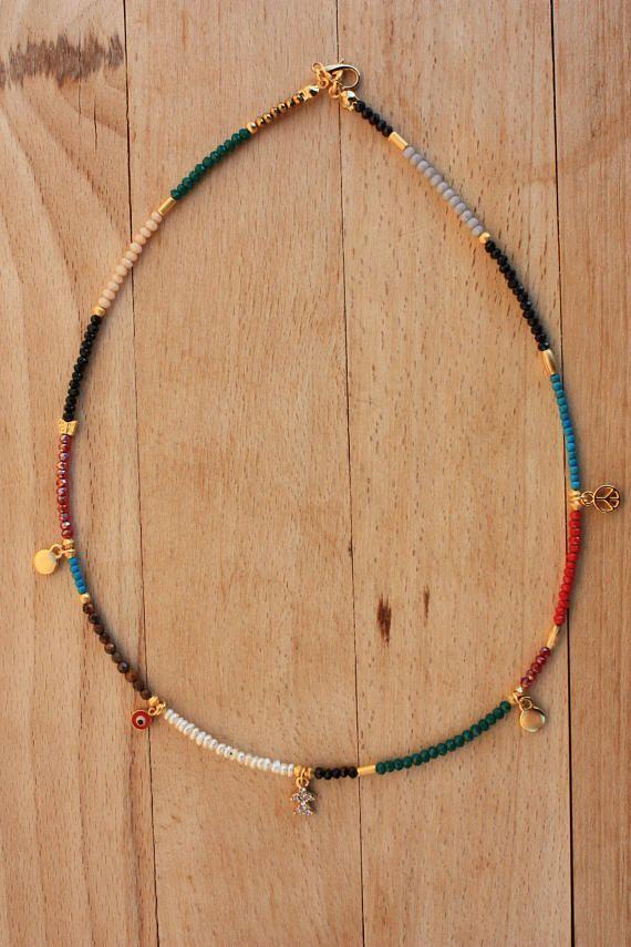 Summer Boho Necklace,Colorful Evil Eye Necklace