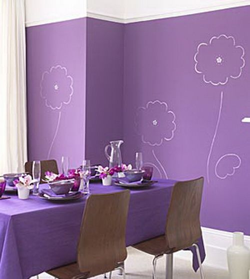 Paint Simple Line Drawings Of Flowers On Walls Painted A Bold Color Cheaper Than Wallpaper And Original Art No Purple Room Design Purple Rooms Purple Decor