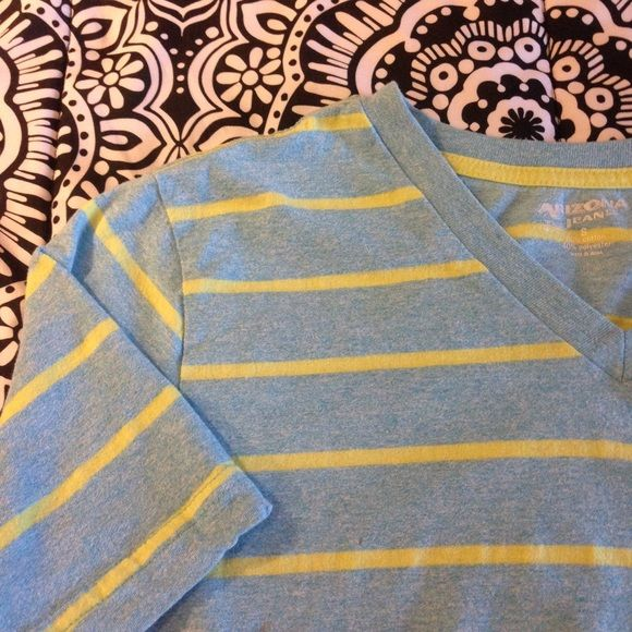 Men's Arizona Tee Light blue and yellow striped tee from Arizona. Looks great on men and women! Soft comfortable material, perfect for casual wear or around the house. Size small, but can fit a medium as well. Arizona Jean Company Tops Tees - Short Sleeve