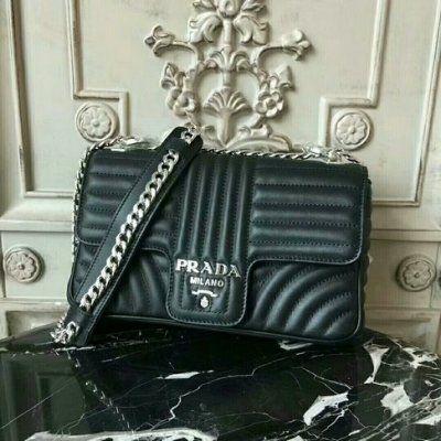 Prada Diagramme Leather Shoulder Bag 1BD108 in Black  7a1e07dcee8e5