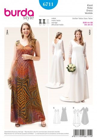 Burda Ladies Plus Size Sewing Pattern 6711 Dress & Wedding Dress ...