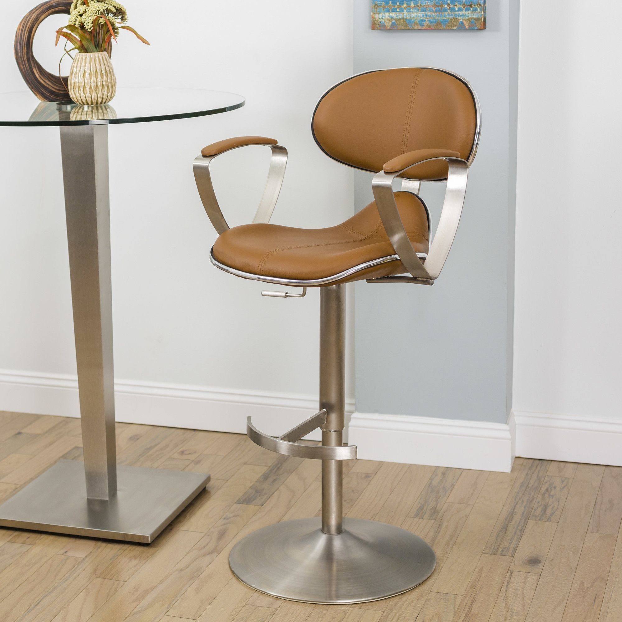 Jaylo Adjustable Height Swivel Bar Stool with Cushion