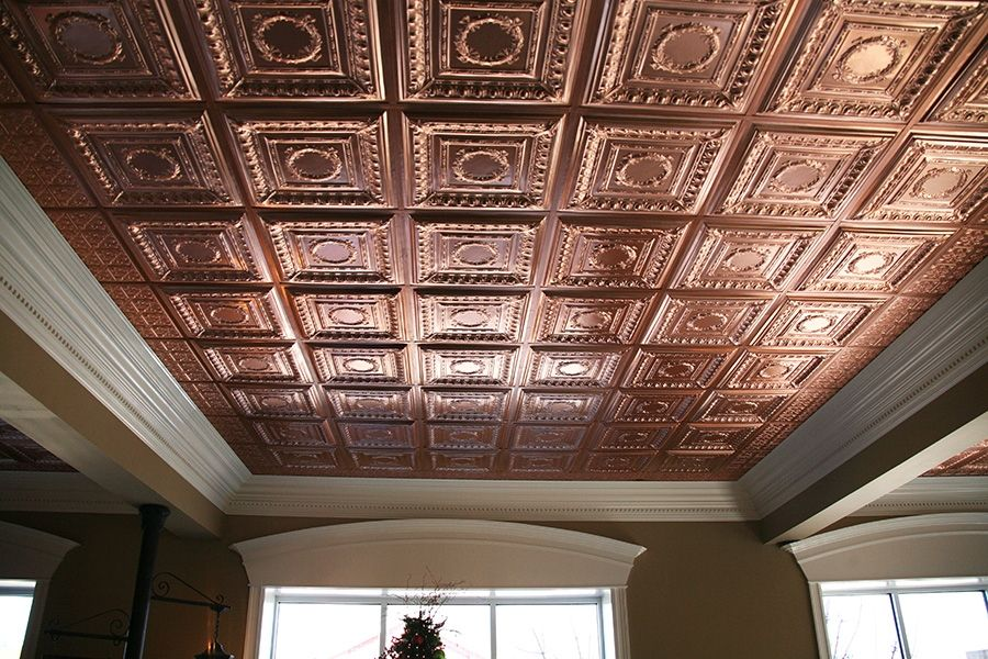 Stratford Vinyl Ceiling Tile Faux Copper 2x4 Home