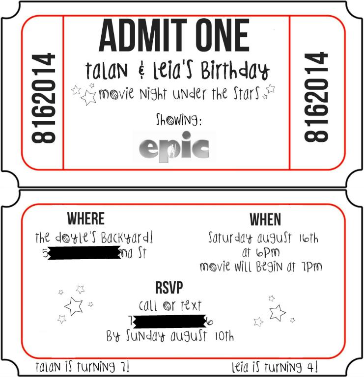 Outdoor Movie Backyard movie birthday party invitation idea. movie ...