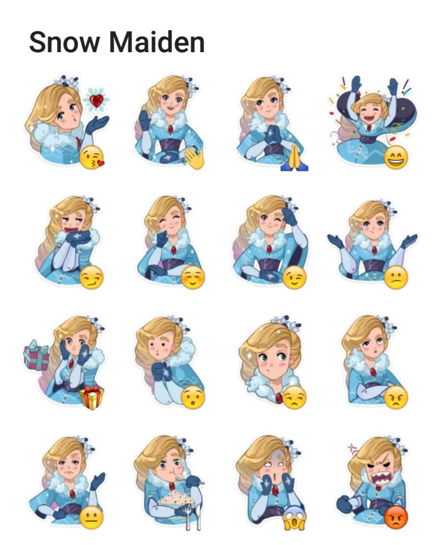 Snow Maiden Telegram sticker set | zenxlove in 2019