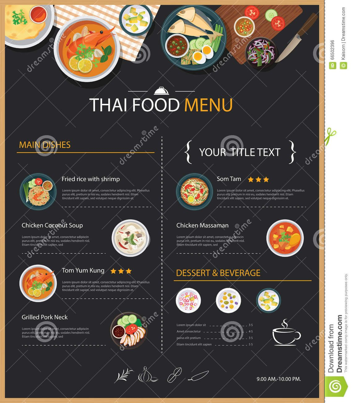 Thai Food Restaurant Menu Template Flat Design Download From
