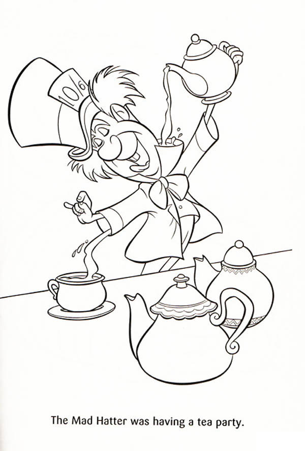 The Mad Hatter Was Having A Tea Party Coloring Page Color Luna Alice In Wonderland Drawings Cartoon Coloring Pages Alice In Wonderland Characters