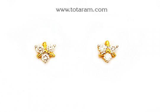 Diamond Earrings For Baby In 18k Gold Totaram Jewelers Indian Jewelry