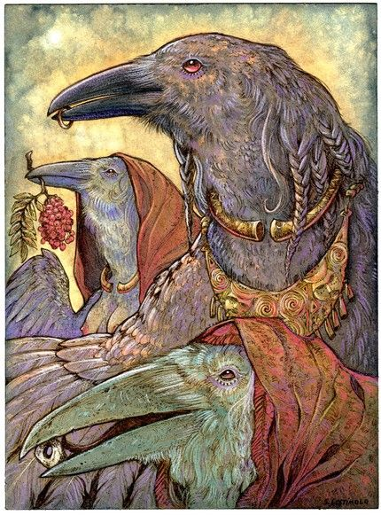 'Generations' - Watercolor and colored pencil with ink. This is by my friend Stephanie Lostimolo... She is my all time fave raven artist! Brilliant work!!! Prints are available in her shop: http://www.etsy.com/shop/​nethersphere