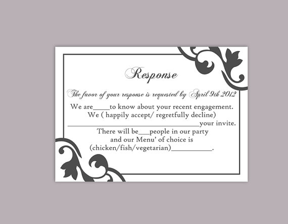 diy wedding rsvp template editable text word file instant download