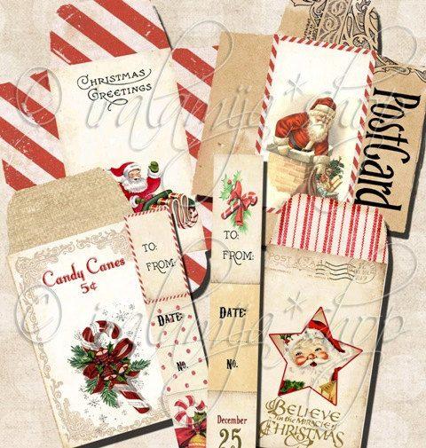 CHRISTMAS ENVELOPES Collage Digital Images -printable download file Scrapbook Printable Sheet