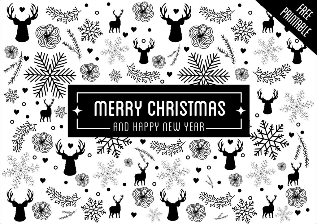 Christmas greeting card black and white with holiday elements christmas greeting card black and white with holiday elements pattern m4hsunfo