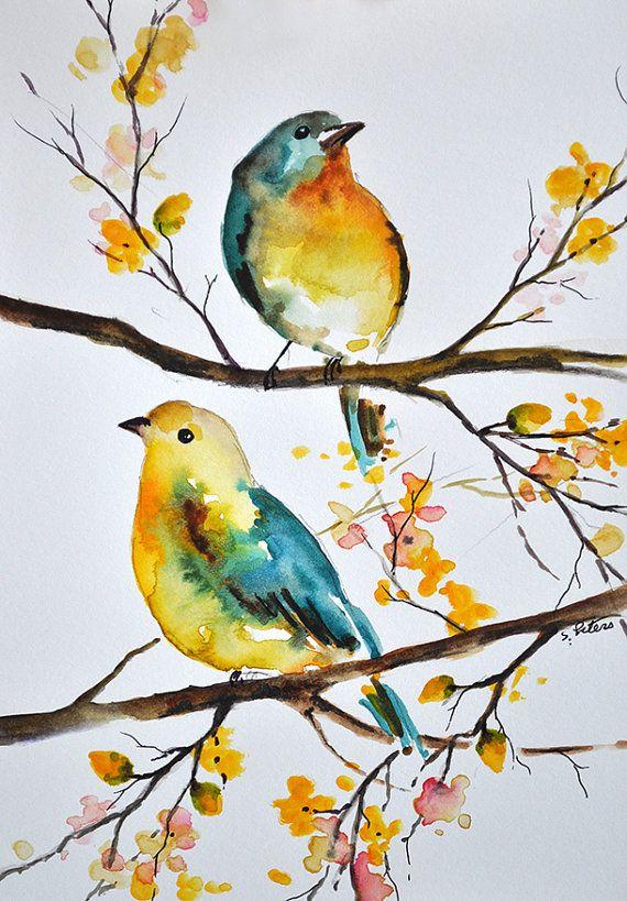 Colorful Aqua Blue Yellow Birds Watercolor By Artcornershop