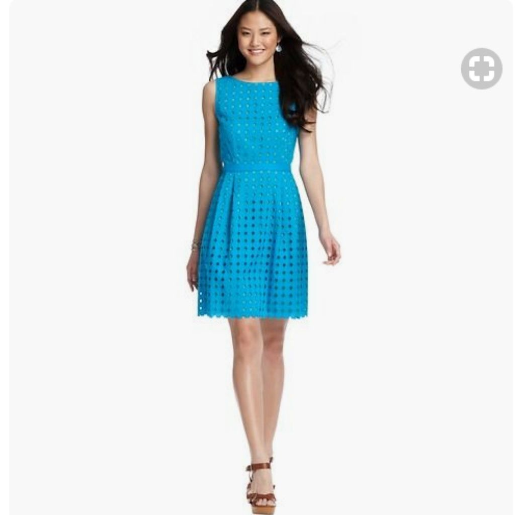 Ann Taylor Loft Blue Green Diamond Eyelet Dress Products