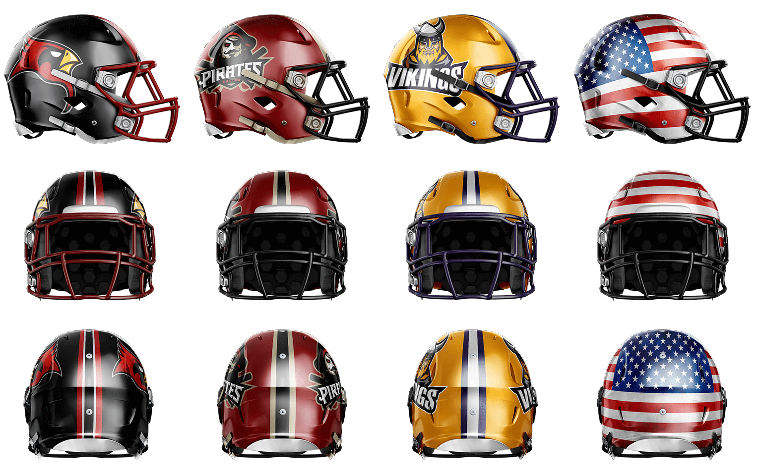 NFL helmets Photoshop Mockup Template | Football uniforms ...