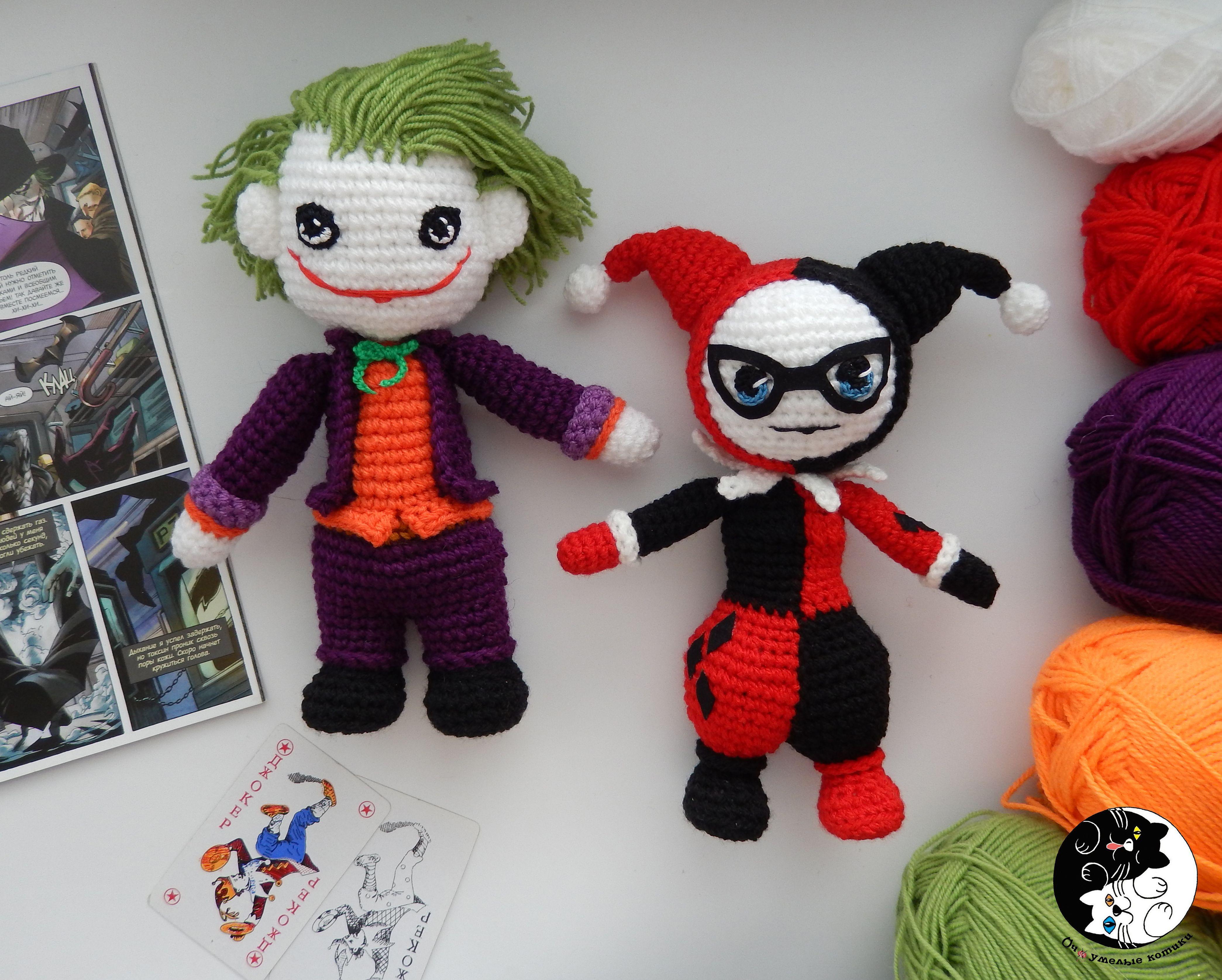 Harley Quinn Amigurumi - Knitted Joker - Crochet Doll - DC Comics ...