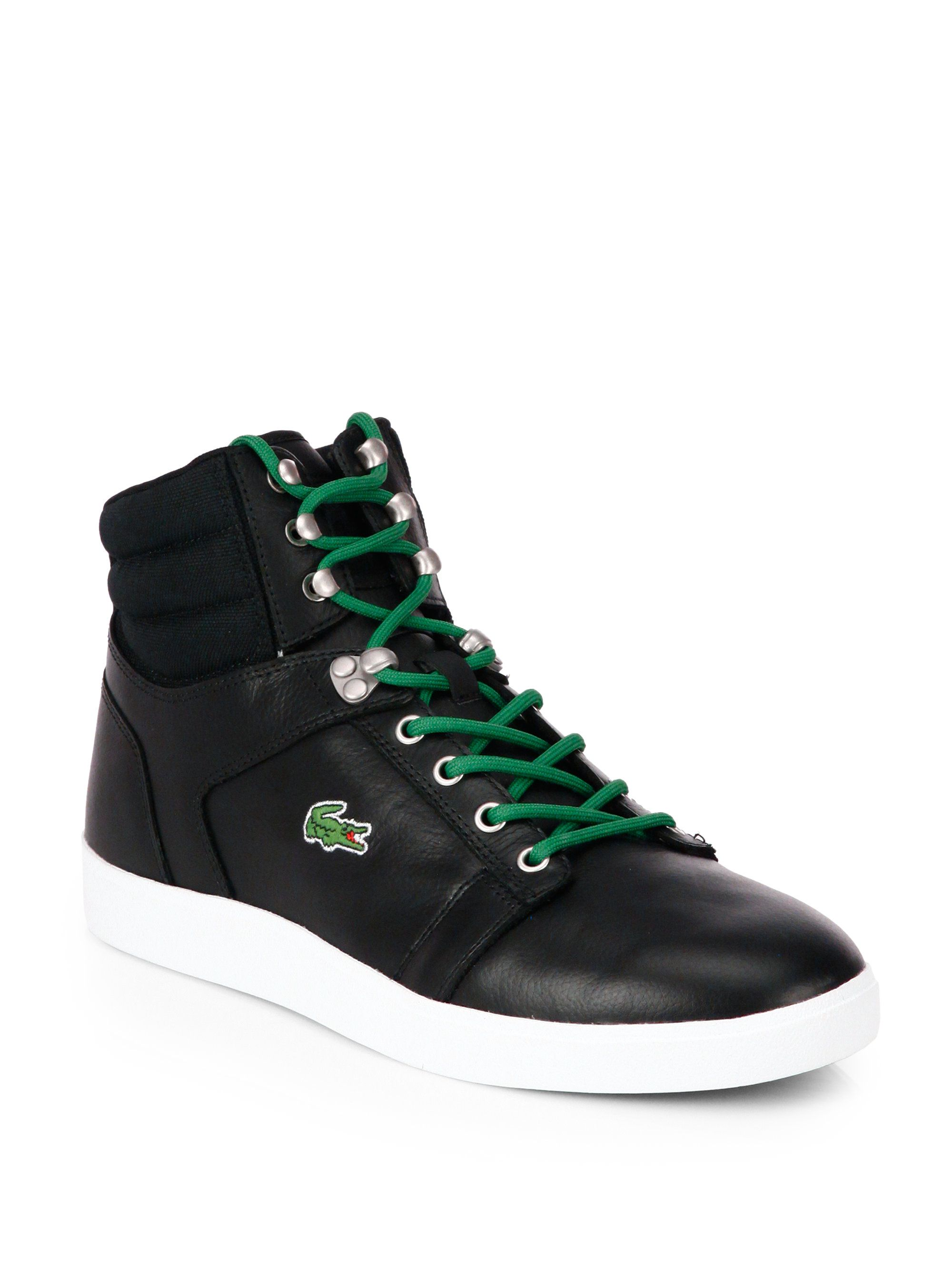 6de3218e9 Lacoste Leather High-Top Sneakers in Black for Men
