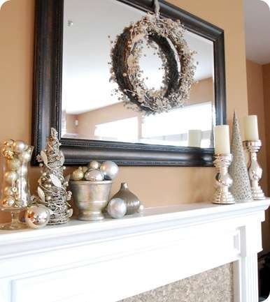 Wreath over mirror mantel christmas things pinterest for Casa mantel