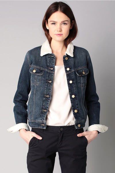 Veste en jean fourree femme pas cher