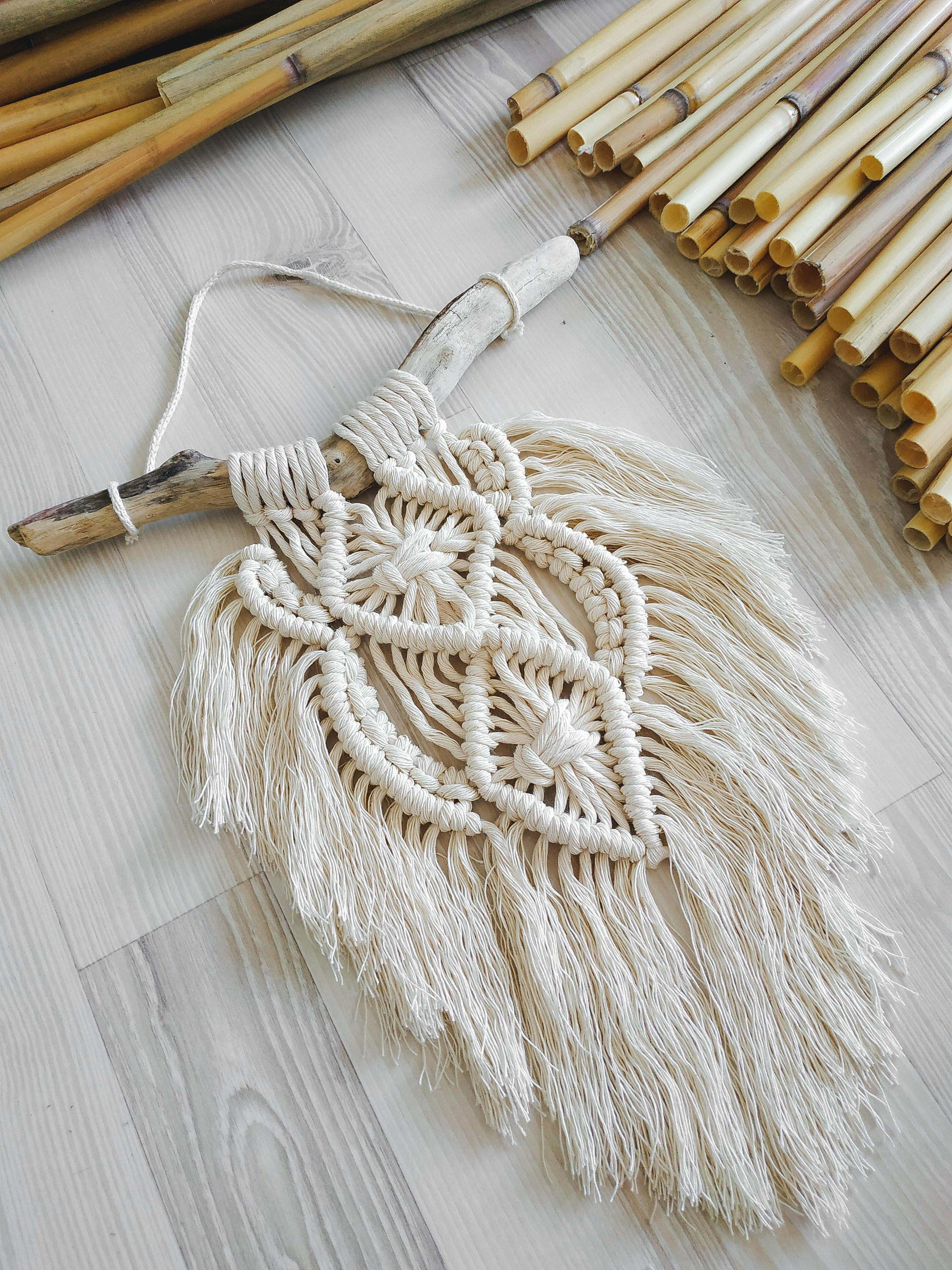 Items similar to Small macrame wall tapestry on a hanger caught drifting from the sea on Etsy