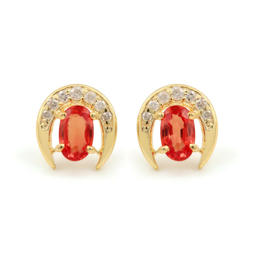 18K Yellow Gold Pave Diamond Stud Earrings 925 Sterling Silver Handmade Jewelry
