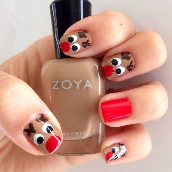 Christmas Nails Diy Manicure Of The Week Rudolph Crazy Cool Nails