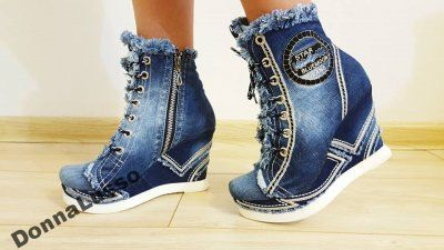 Luksusowe Koturny Jeansowe Unikatowe 36 40 6388068170 Oficjalne Archiwum Allegro Shoes Top Sneakers Wedge Sneaker