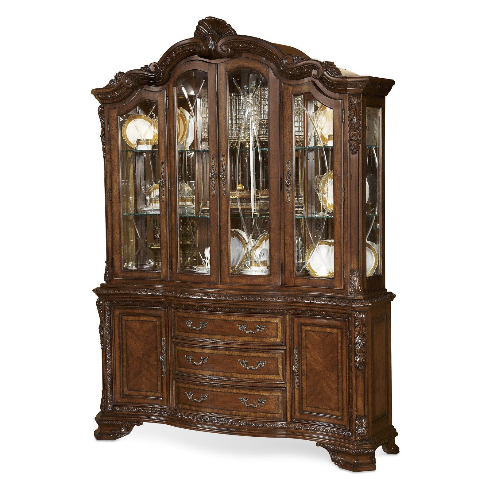 Art furniture old world china cabinet cathedral cherry